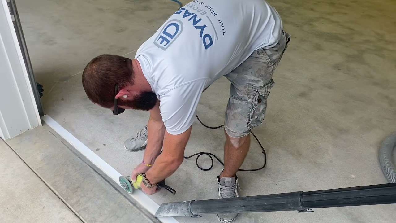How to terminate an epoxy marble floor in a garage