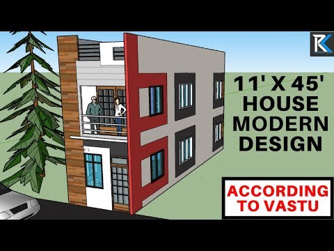 11' X 45' north facing modern house design according to Vastu|| RK Survey & Design