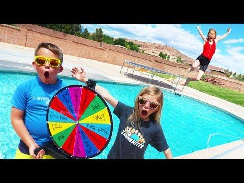 Mystery Wheel Swimming Pool Challenge Youtube