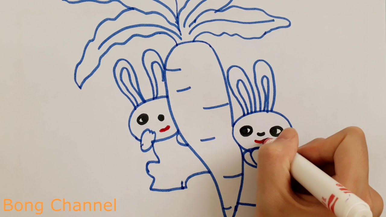 Rabbit Eating A Carrot Drawing Coloring For Kids Bong Channel