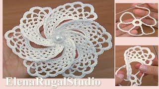 Crochet Asymmetrical Petal Flower Урок 105 Нежный ажурный цветок