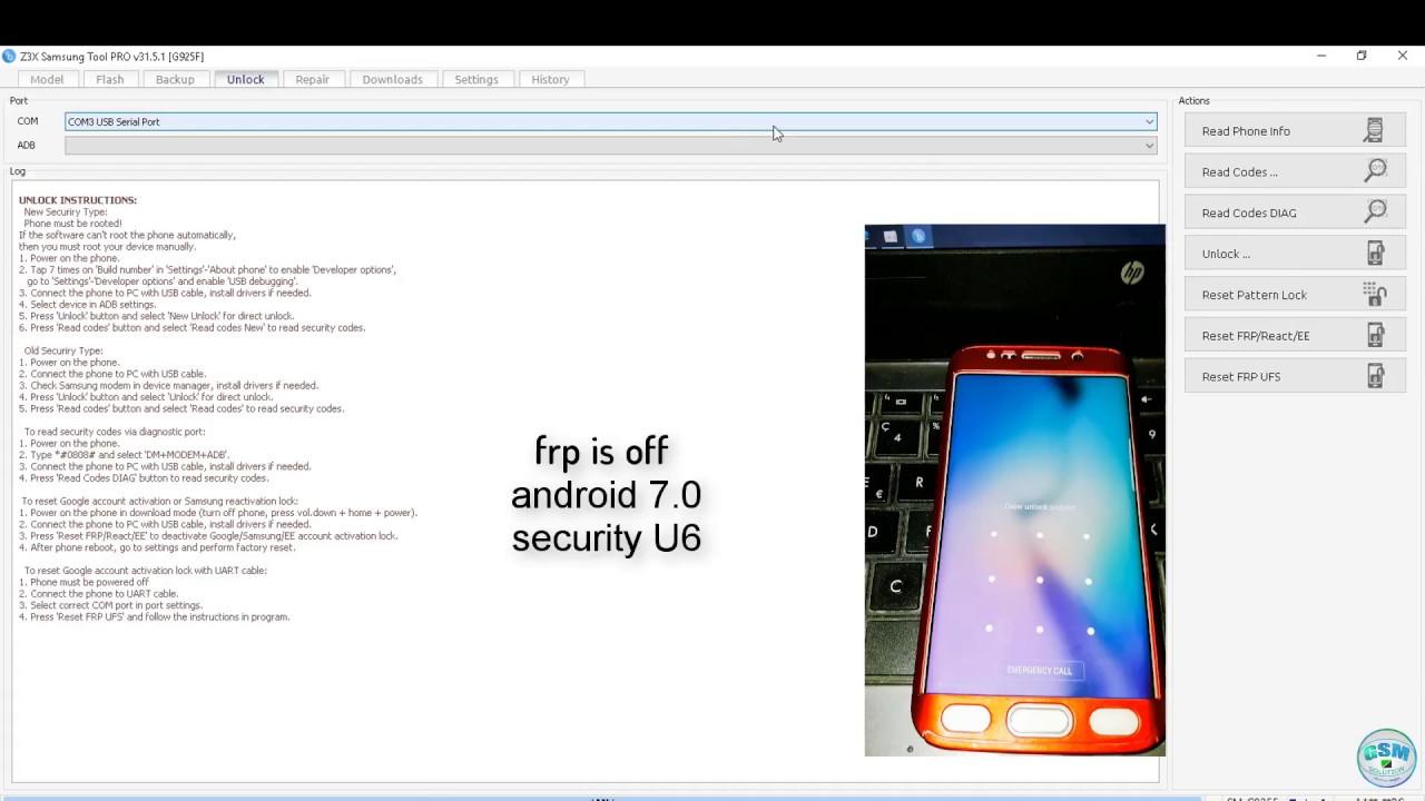 S6 edge g925f remove screen lock by z3x