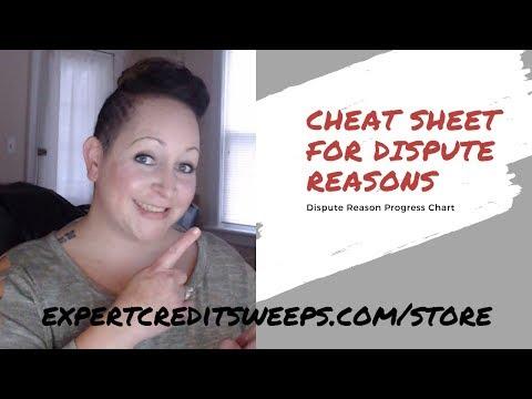 Credit Repair Dispute Reason Cheat Sheet
