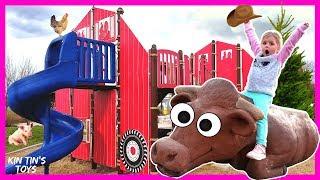 Kin Tin Farmer in the Dell / Old Macdonald had a Farm | Kids Songs | Farm Animals | Playground