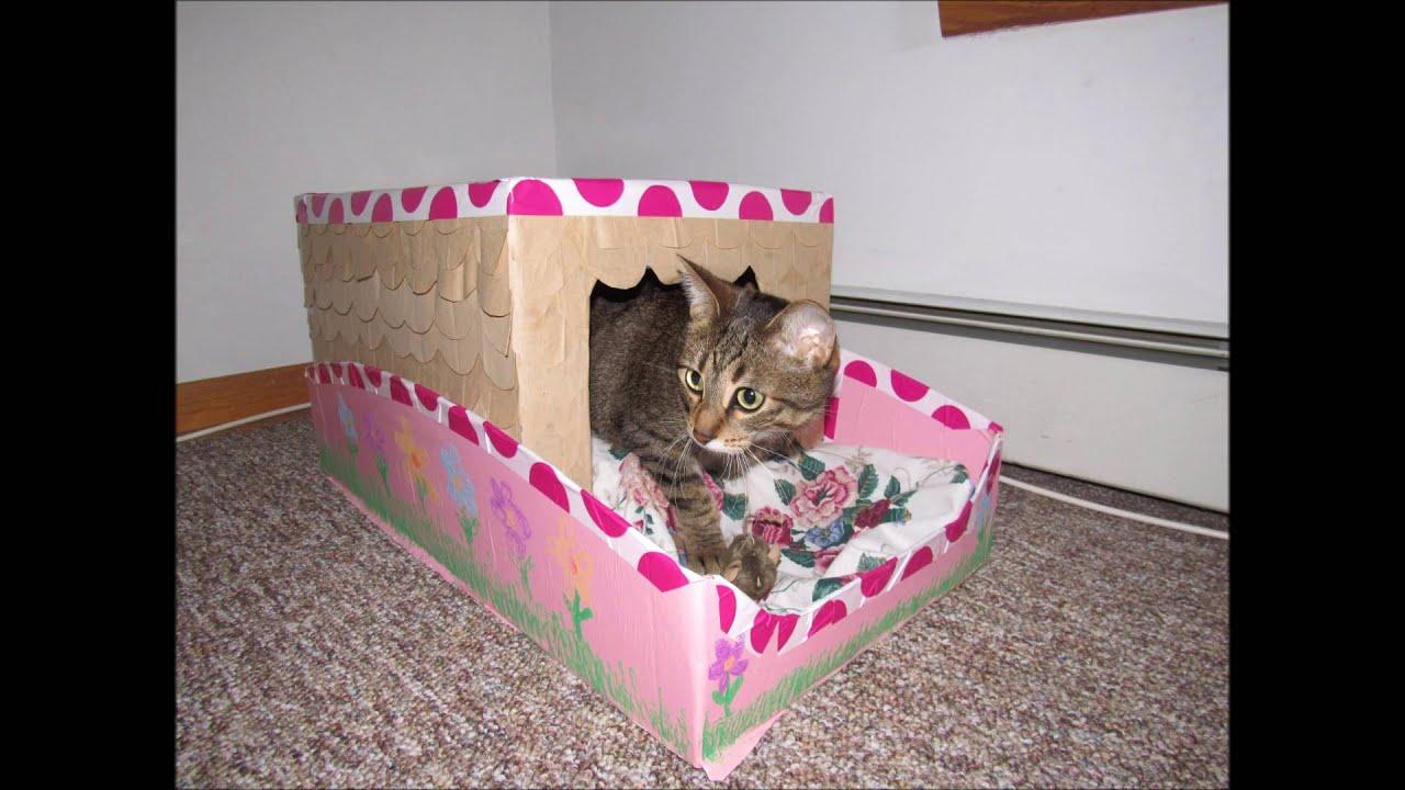 Tutorial manualidad como hacer una casa cama para mascota - Casa para gato ...