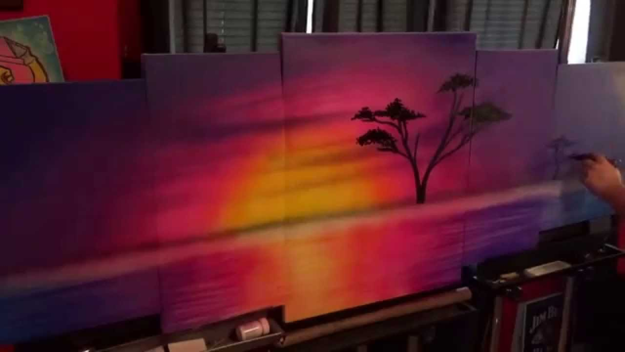 African Sunset painting-5 piece Canvas - YouTube
