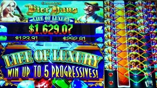 **NEW SLOT** COLOSSAL BIER HAUS Slot + LIFE OF LUXURY PROGRESSIVE WIN!! - Slot Machine Bonus