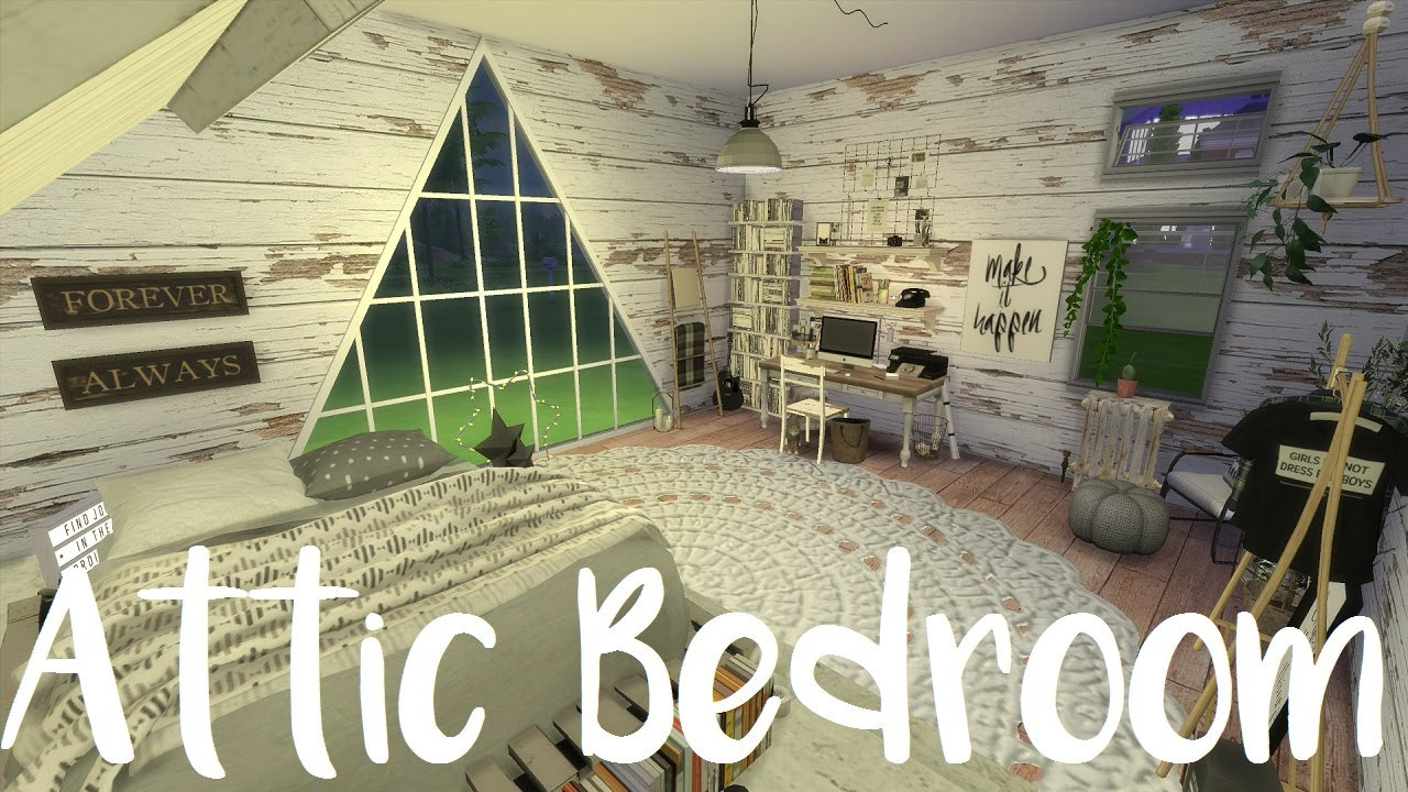 The Sims 4 Speed Build Attic Bedroom With Cc Links