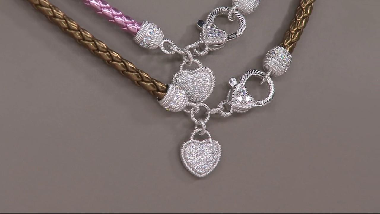 Judith ripka sterling or 14k clad verona braided leather necklace on judith ripka sterling or 14k clad verona braided leather necklace on qvc aloadofball Images