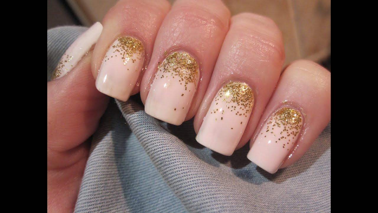 Gold Ombre Glitter Złoty Ombre Brokat Manicure Wzory Na