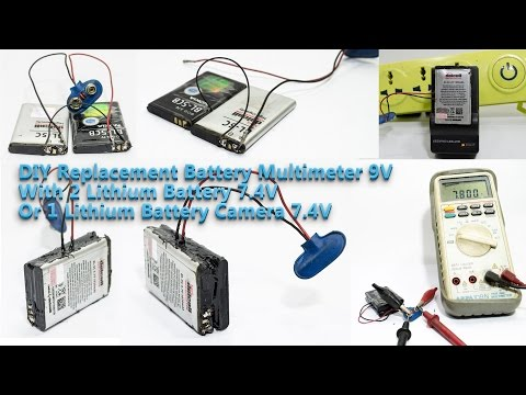 Battery Replacement 9V with dual battery lithium or one camera battery 7,4V