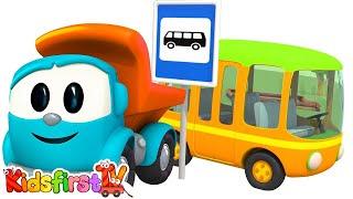 Toy Trucks - LEO JUNIOR builds a BUS! Kid's 3D Educational Construction Cartoons for Children