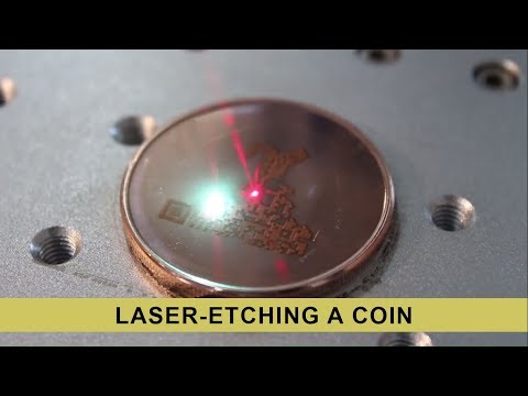 A Cold Storage Coin being laser-etched