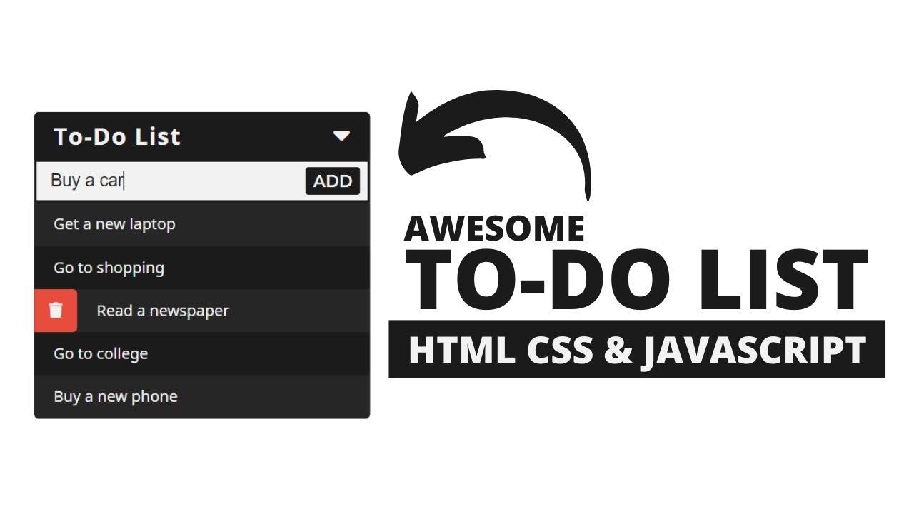 Minimal To-do List using HTML CSS & Javascript