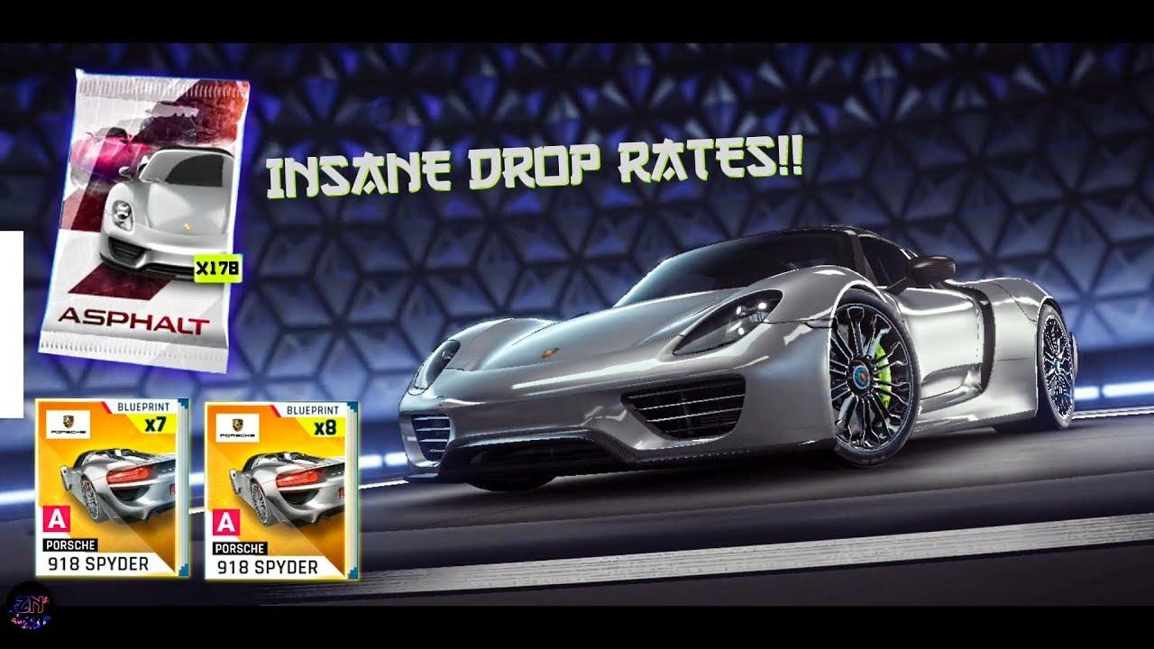 Asphalt 9 Opening X178 Porsche 918 Spyder Packs 13050 Tokens
