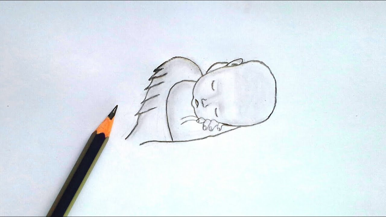How cute baby girl is sleeping. Baby face drawing   very ...
