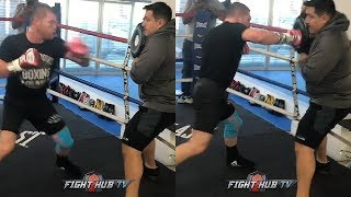 OMG CANELO THROWING NON STOP POWER RIGHT HANDS LIKE A MEXICAN BEAST AS HE TRAINS FOR DANIEL JACOBS