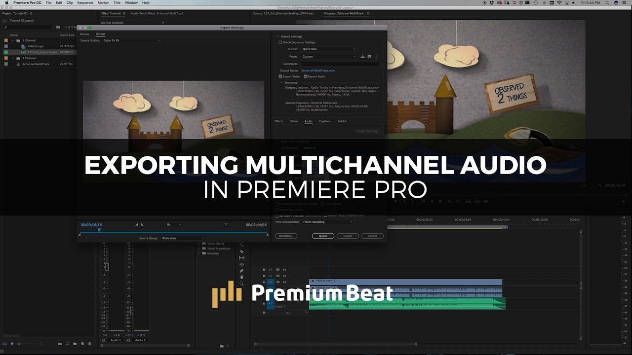 export multichannel audio in premiere pro youtube. Black Bedroom Furniture Sets. Home Design Ideas