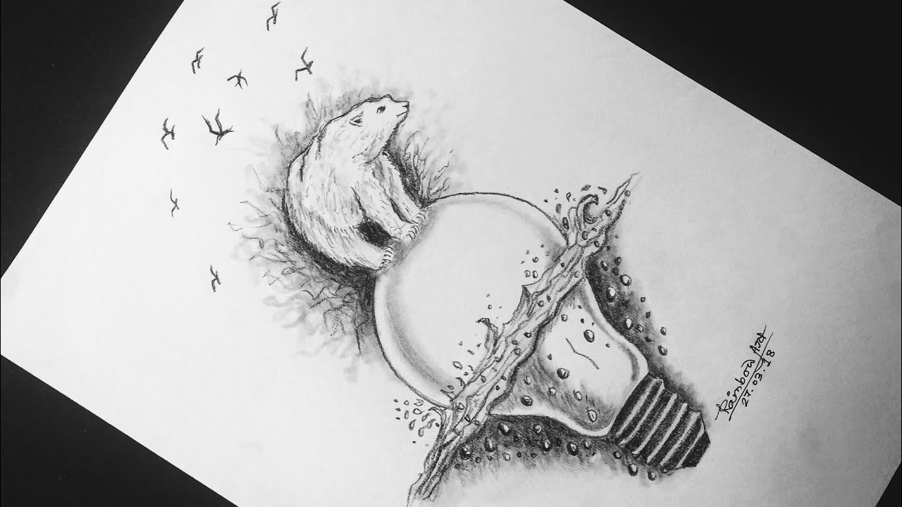 Pencil drawing idea rainbow art by radhapada manna