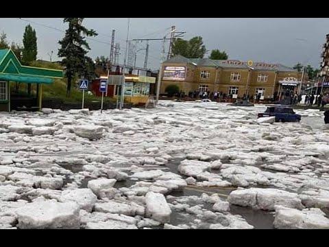 Мощным градом завалило Гюмри, Армения. 13 июля 2020 года