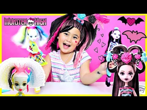 Monster High Party Hair Style Draculaura and Electrified High Voltage Frankie Stein Dolls Unboxing