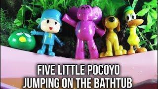 Five Little Pocoyo Jumping On The Bathtub | Yellow Water |  Five Little Monkeys Jumping On The Bed