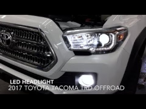2016-2019 toyota tacoma led headlight installation, comparison of stock  versus oem halogen & review