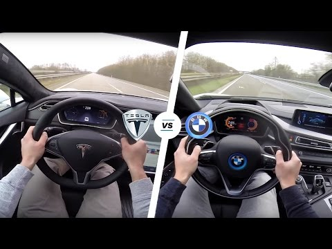 Thumbnail: Tesla Model S P90D LUDICROUS vs BMW i8 Acceleration & TOP SPEED POV Autobahn