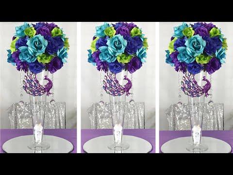 diy-glamorous-peacock-themed-wedding-centerpiece-/-wedding-decor-ideas