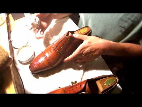 ASMR How to Clean, Condition and Shine shoes, mirror shine Magnanni Santiago