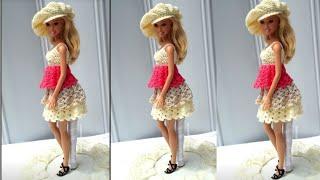 Vestido de crochê com babado para boneca Barbie e arremate