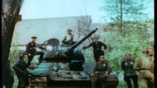 Meeting of Russian and US Major Generals at Torgau, Germany, near end of World Wa...HD Stock Footage
