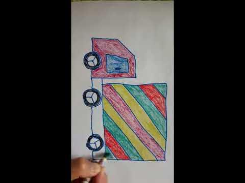 Cách vẽ xe ô tô tải, Dạy bé vẽ xe ô tô tải
