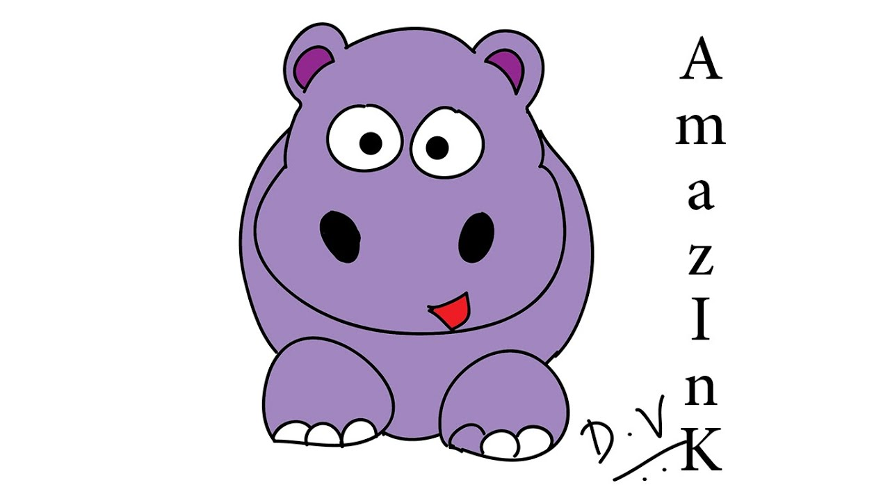 Uncategorized How To Draw Hippo learn how to draw a baby hippo youtube