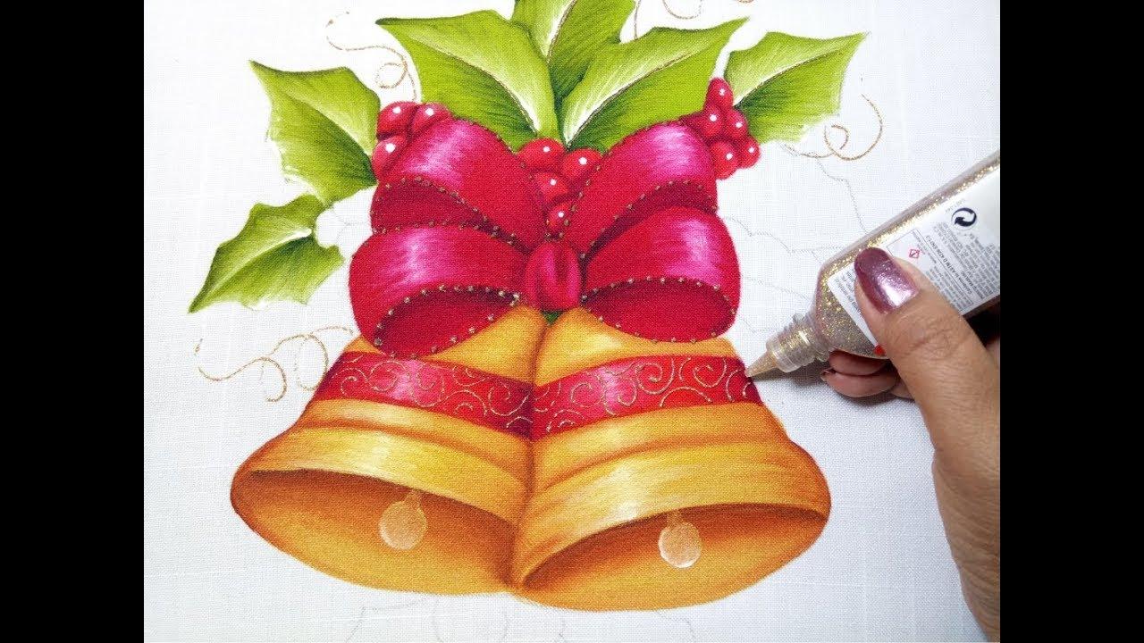 Imagenes De Motivos Navidenos Para Pintar En Tela.Tutorial De Pintura Textil Como Pintar Campanas Navidenas