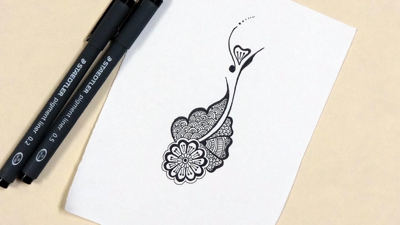 Mehndi Patterns Easy On Paper : Easy henna mehndi design doodle youtube