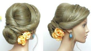 Bridal Prom Hairstyle For Long Hair Tutorial.  Romantic Bun Updo