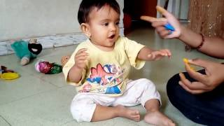 Sweet Little Baby Yagni Eating Orange With Playing | Very Funny | 20141028 134918