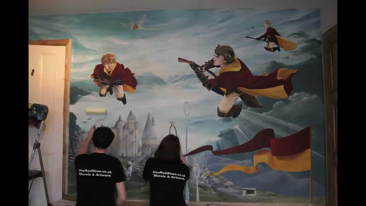3d Library Wallpaper Harry Potter Mural Youtube