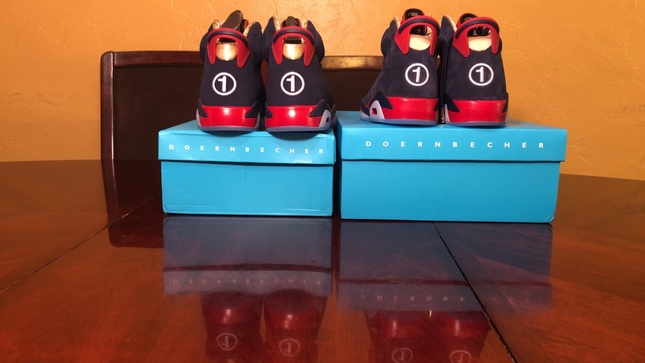 c292cea42d8384 Air Jordan 6 Doernbecher 2019 DB6 Real Vs Fake review. Both shoes on ...