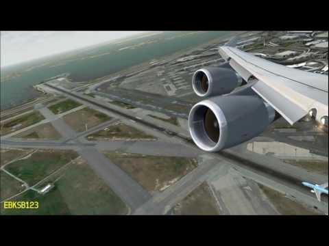 FSX HD 1080p - Boeing 747 GO-AROUND & LANDING at JFK New York!! i7 2600k, GTX 560