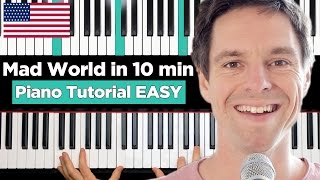 Mad World - Gary Jules - Piano Tutorial EASY