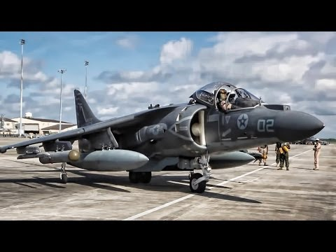 Harrier Jets Prep For Takeoff + In Flight Refueling