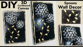 Dollar Tree DIY 3D Cardboard Canvas Spoons Wall Decor 2019