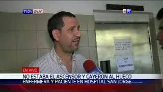 Tras falla de ascensor de hospital, enfermera y paciente caen al vacío