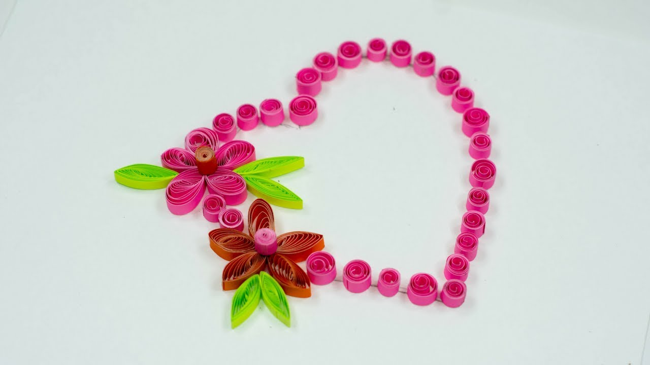 Beautiful Flower With Heart Design Greeting Card Paper Quilling