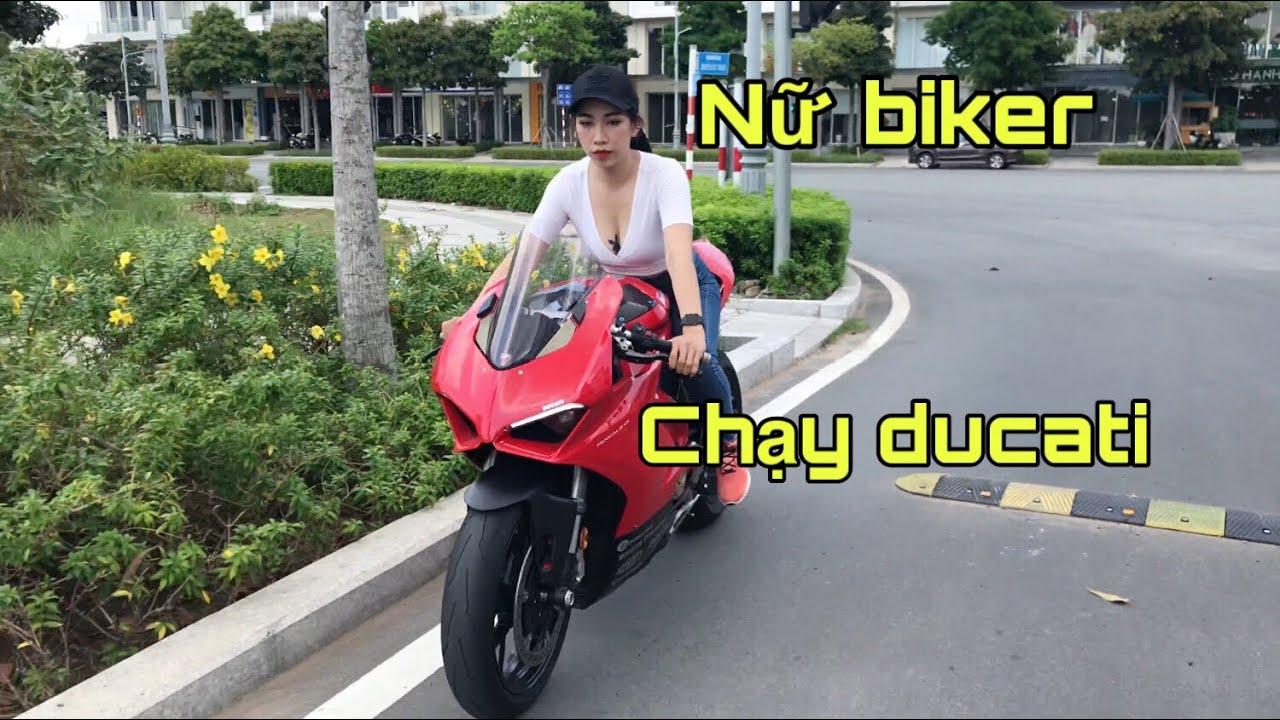 Thy Thỏ chạy Ducati panigale V4 cực ngầu - Gái xinh chạy moto - Minh Biker