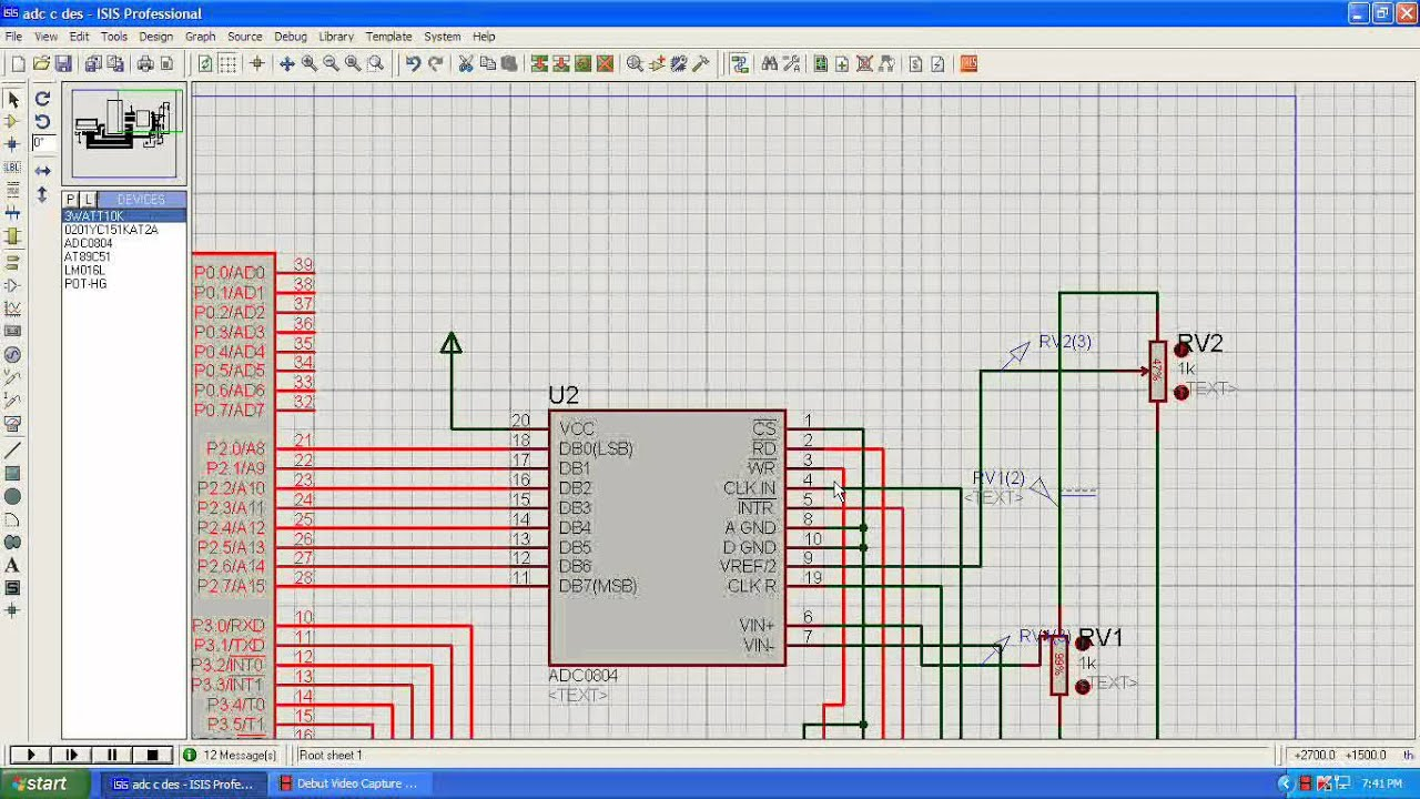Adc Lcd Interface With 8051 Using A Volt Meter Digital Voltmeter Microcontroller