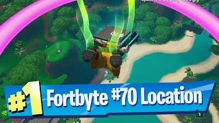 Fortnite Fortbyte #70 Location - Accessible by Skydiving through rings Lazy Lagoon Vibrant Contrail