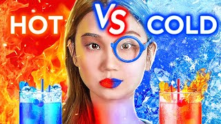 HOT VS COLD FOOD CHALLENGE! Icy Girl VS Girl On Fire! Twin Challenge 24 Hours By 123 GO! CHALLENGE